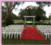 wedding ceremony setup at Redland Bay Golf Club