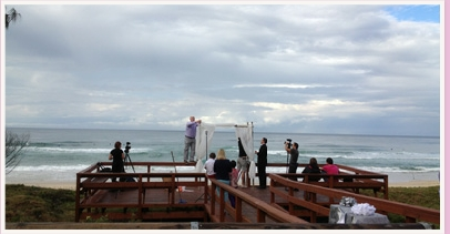 wedding ceremony being set up on deck at Broadbeach
