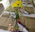 vintage and rustic decorations of the reception tables after the ceremony