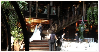 wedding couple on stairs at Cloudland Fortitude Valley