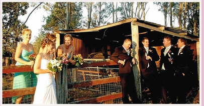 wedding ceremony at couple's country property